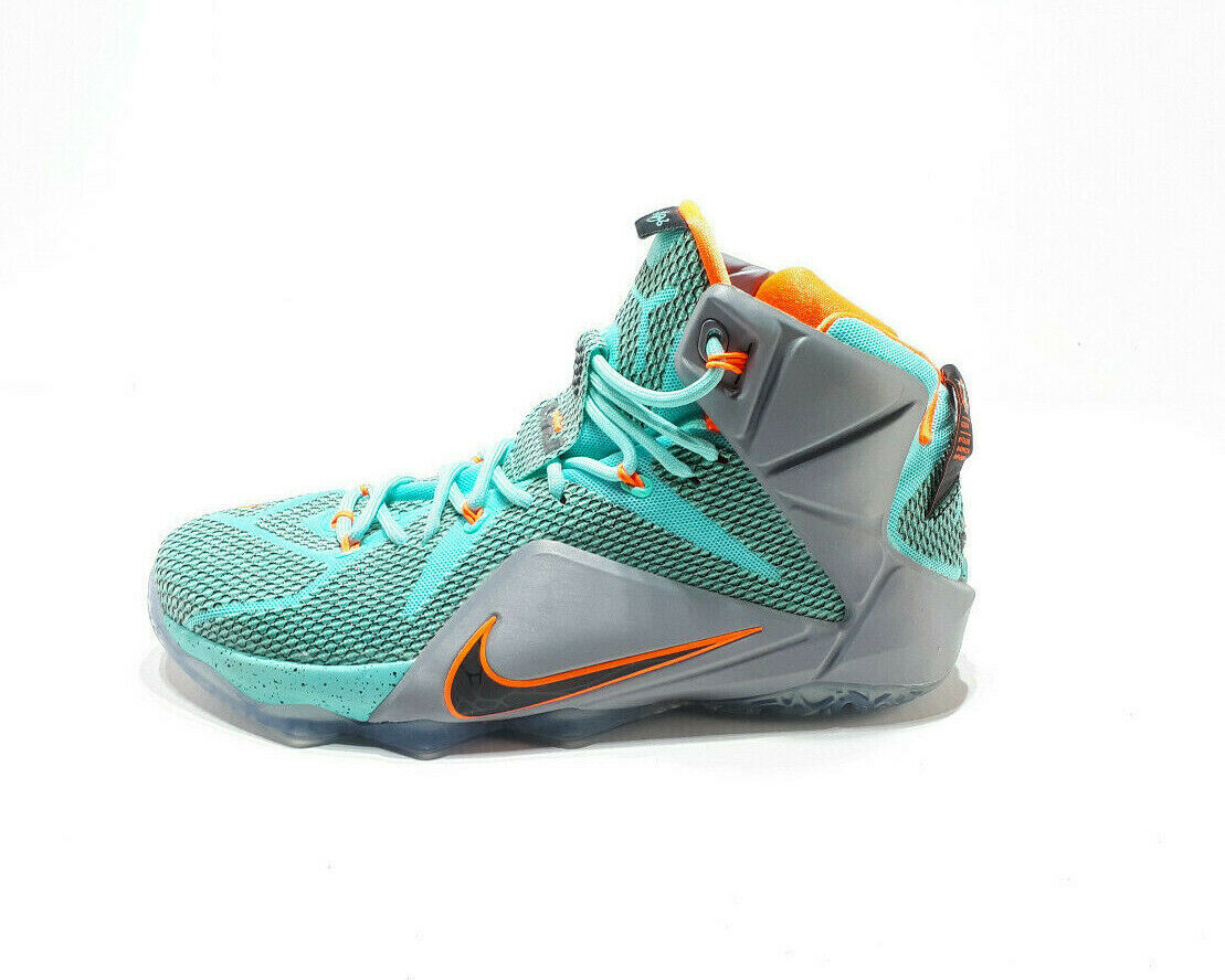 Nike Lebron12 NSRL Size 10 shoes 684593-301 Turquoise Black orange Grey Sneakers