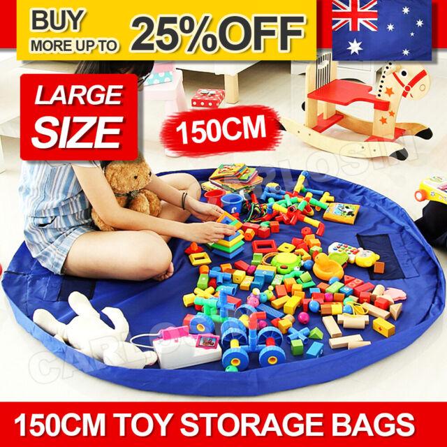 Blue Kids Play Mat Bag Portable Toy Storage Organizer Lego Toys BrikBag XL 150cm