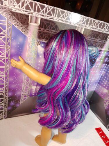 "14/""LONG American Girl WIG NEW Purple Blue Rainbow Ombre OOAK Designer sz 10-11"