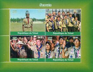 Chad-2018-estampillada-sin-montar-o-nunca-montada-Boy-Scouts-4v-m-s-sellos-de-Scouting