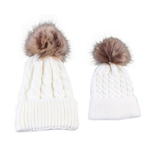 Winter 2 Pcs Mother /& Baby Daughter//Son Warm Hat Cap Cotton Knitted UK Vincenza