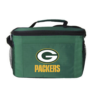 Green Bay Packers Insulated Cooler Zipper Lunch Bag Box Tote 6 Pack NFL NWT