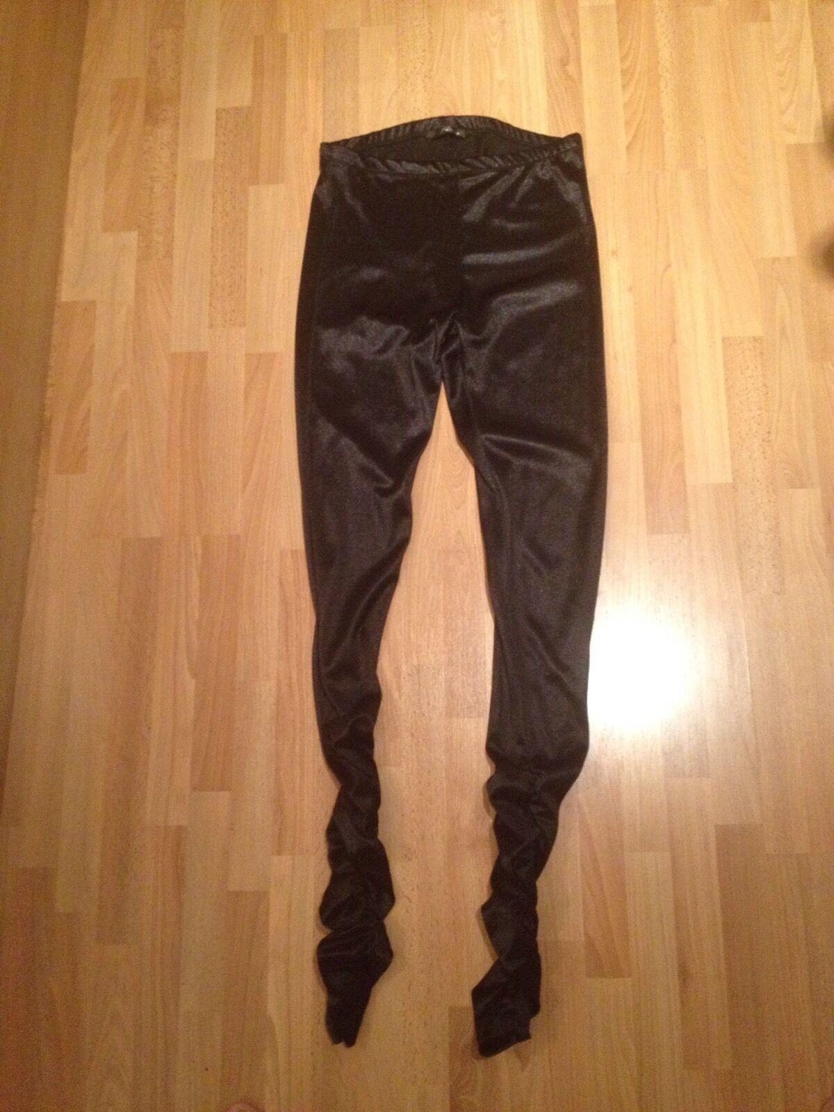 BNWOT Ladies Jane Norman nero Wet Look, Sparkle Ruffled Sexy Leggings - Dimensione 10