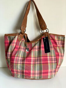 NEW-TOMMY-HILFIGER-ACOMA-PINK-RED-GREEN-PLAID-LARGE-SHOPPER-TOTE-BAG-PURSE-79
