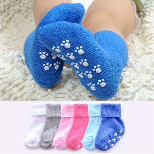 Baby Girls Boys Candy Color Solid Cotton Socks Anti Slip Kids Infant Soft Socks
