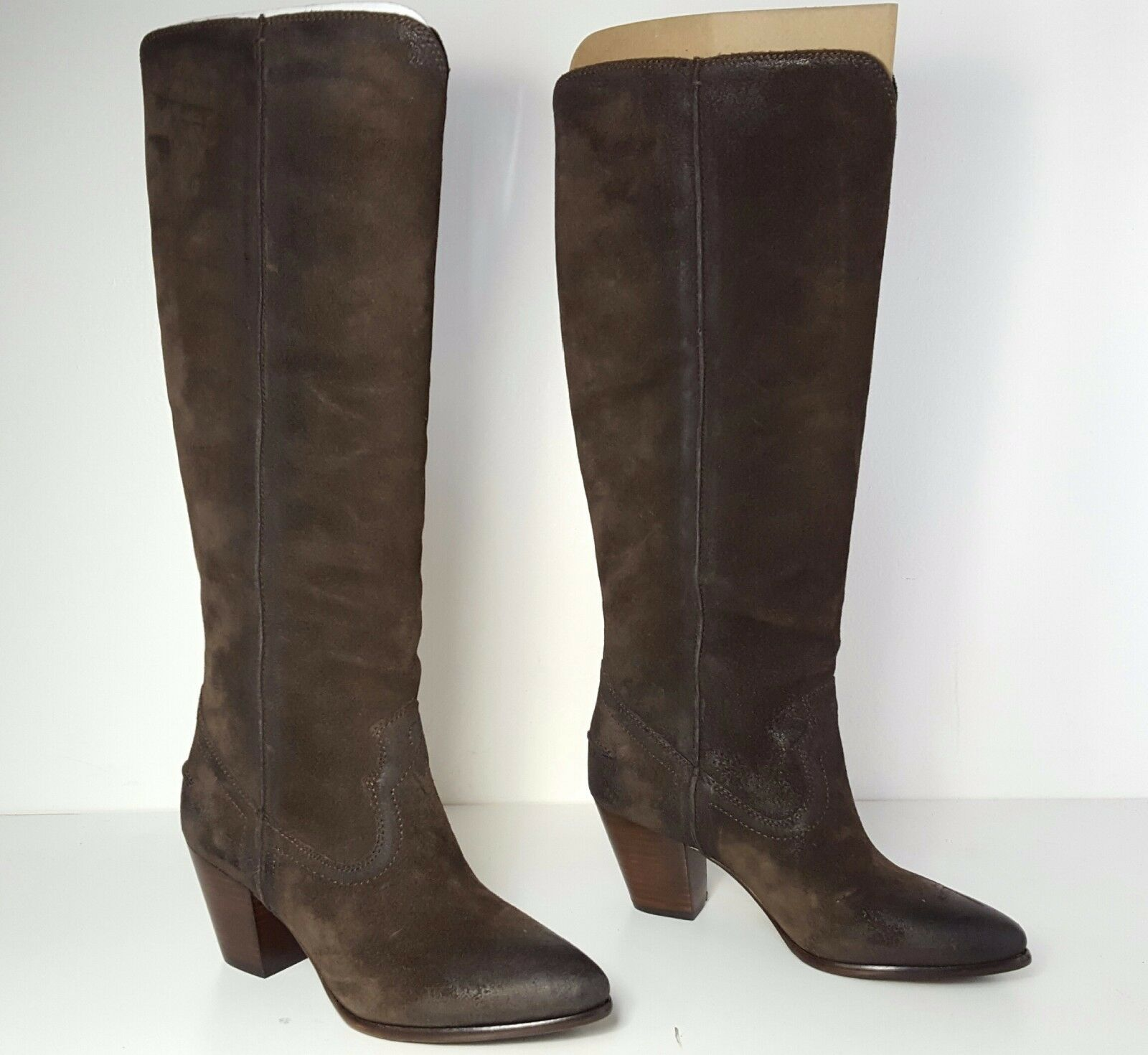 Leather 378 size 7 Frye Renee Seam Tall Charcal Leather  Heels Boots Donna Shoes d8a908