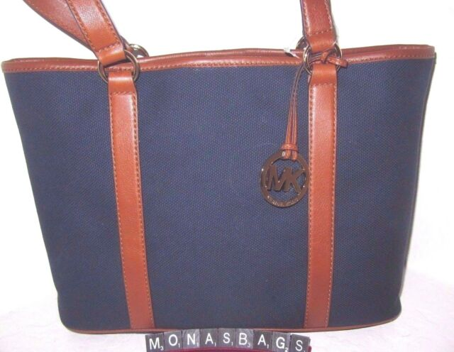 cacbbb93ea39 Michael Kors Canvas   Leather Navy Luggage Large EW Summer Tote Bag NWT  228