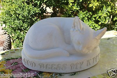 CAT MONUMENT CONCRETE STATUE GARDEN VINTAGE beautiful outdoor GRAVE MARKER decor