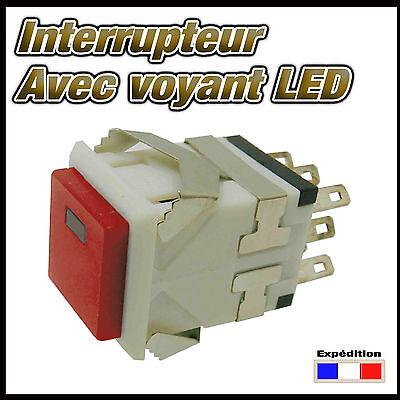 984R# interrupteur carré  avec LED  de 1 à 10 pcs  ON - ON switch
