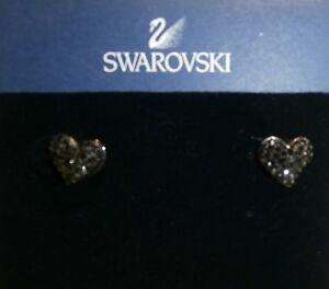 Details About Swarovski Fashion Jewellery Alana Jet Heart Rhodium Pierced Earrings 1019084