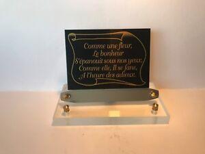 épitaphe Noir & Or Support Altuglas Transparent Rectangle Plaque Funéraire Texte Pgpszezw-10042255-338541338
