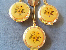Vintage lot old store stock 3 lg round flower antiqued-look locket necklaces Lt3