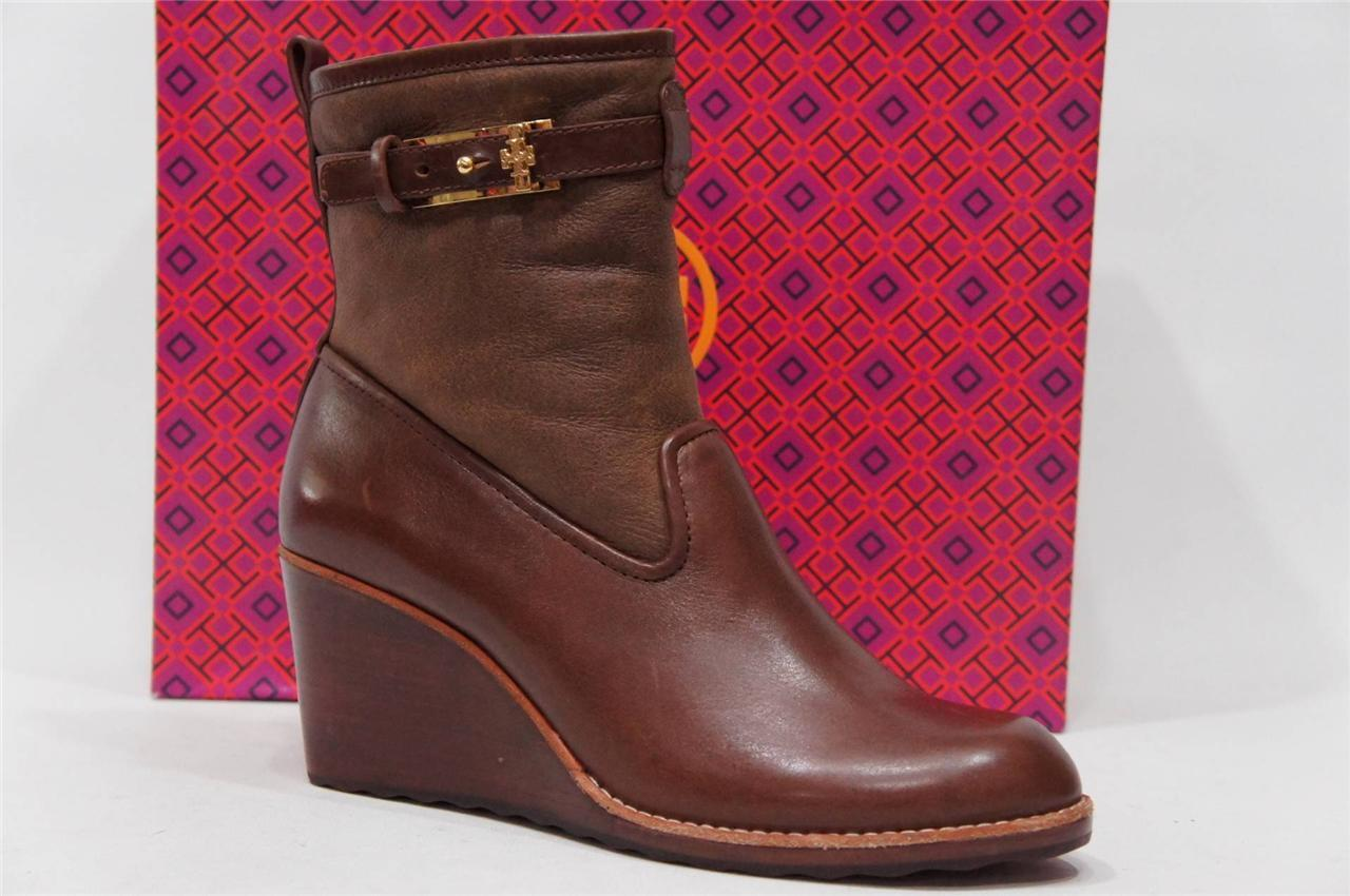 TORY BURCH PRIMROSE WEDGE BOOTIE BOOTS SCARPE BROWN ALMOND LEATHER  395 10.5