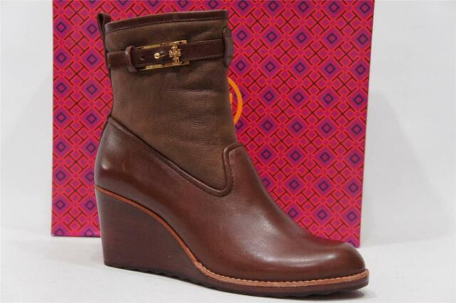 0c9ce2cafc29 TORY BURCH PRIMROSE WEDGE BOOTIE BOOTS SHOES BROWN ALMOND LEATHER  395 10.5