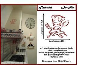 Dettagli su adesivi murales per cucina stencil murali su pareti con  stickers chef ristorante