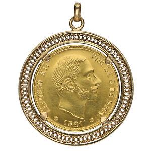 25-Pesetas-1881Spanien-Goldmuenze-Anhaenger-fuer-Halskette-750-1000