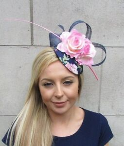 Navy Blue Light Pink Rose Flower Feather Pillbox Hat Hair Fascinator ... 80010e2a59a