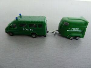 Fourgon-Police-Remorque-1-87-Praline-Ref-3759-Transit-Bus-Pferdehgr-POLIZEI