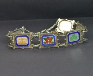 Vintage-1977-Solid-Silver-amp-Enamel-Queen-Silver-Jubilee-Great-Britain-Bracelet