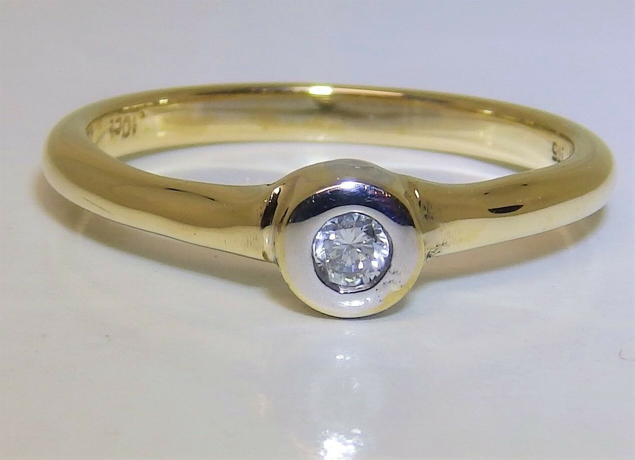9CT 9 CARAT YELLOW gold 0.1CT DIAMOND SINGLE STONE ENGAGEMENT RING SIZE O