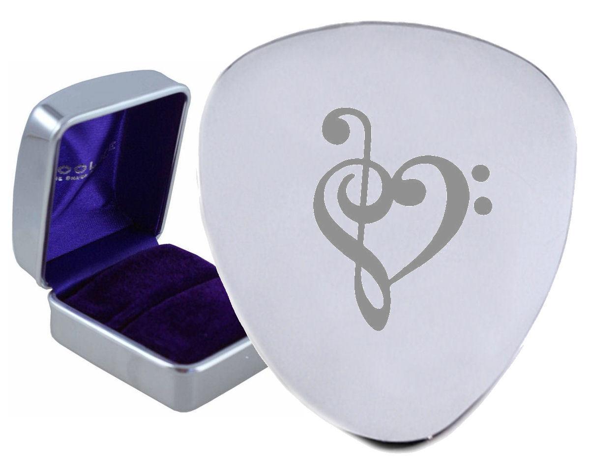 Musik Herz Valentine Stahl Gitarre Plektrum Graviertes - Optional Text auf Box