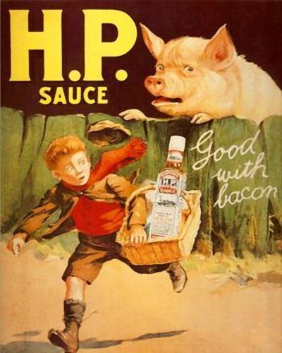 H.P sauce good with bacon retro vintage style metal wall plaque sign