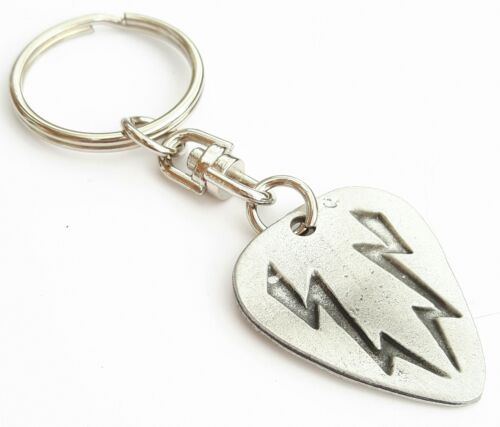 Guitar Plectrum Handcrafted English Pewter Key Ring Gift Bag