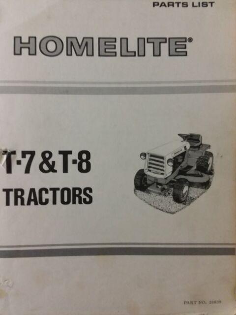 s l640 homelite t 7 t 8 lawn tractor parts manual catalog allis chalmers