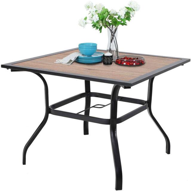 Picnic Table Outdoor Garden Umbrella, Outdoor Patio Dining Table With Umbrella Hole