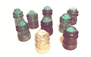 9 Hemingray Vintage Green Clear Glass Insulators No. 12 - No. 9