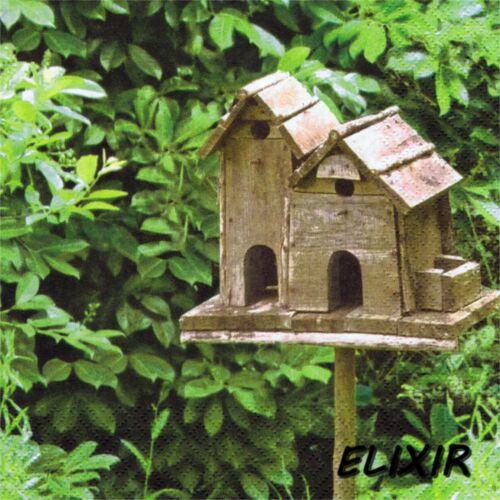 2 SERVIETTES EN PAPIER NICHOIR A OISEAU NATURE PAPER NAPKINS BIRD HOUSE NATURE 1