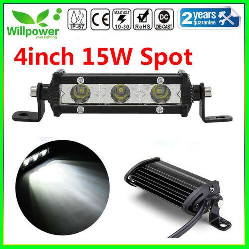 4inch 15W Spot Slim LED Work Light Bar Single Row Car SUV Off road Truck ATV 4WD