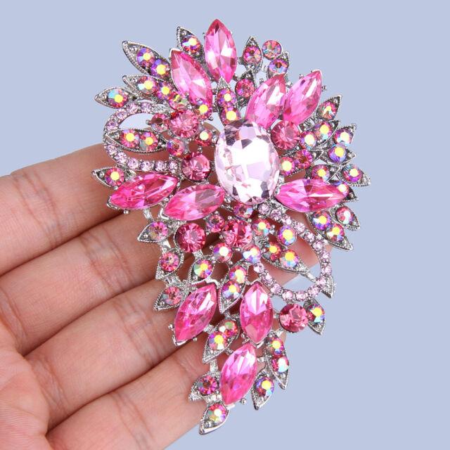 "Hot 3"" Fashion Flower Brooch Pin Light Pink Austrian Crystal -E218"