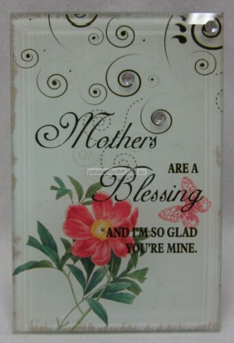Gorgeous Free Standing Glass Plaque With Sentimental Verse Mother Is a Blessing