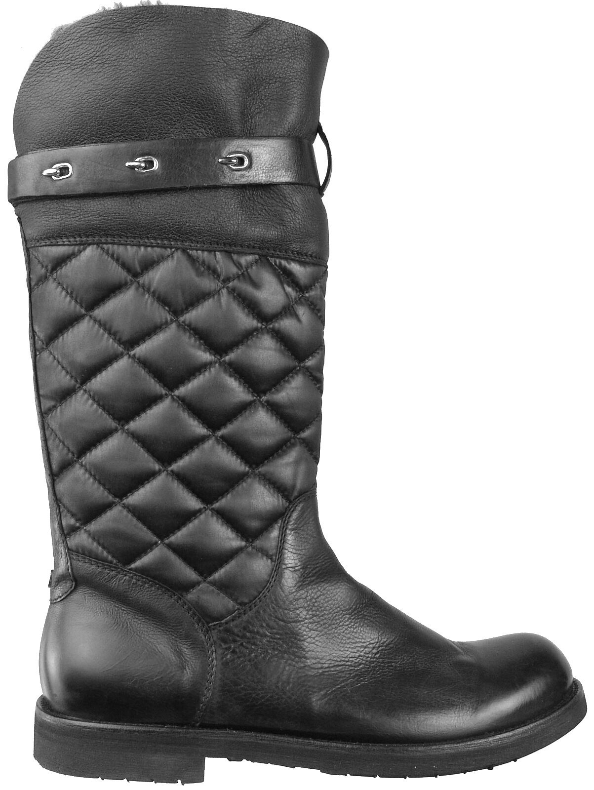 CESARE PACIOTTI SHEARLING QUILTED LEATHER BOOTS US 10 ITALIAN MENS SHOES