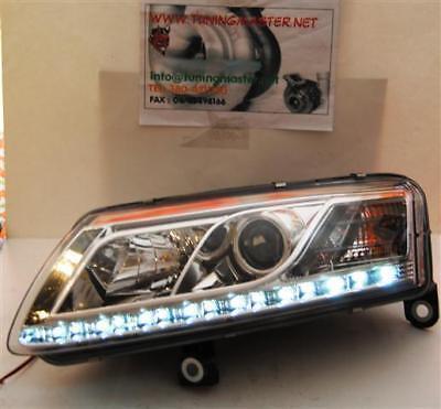 Coppia Fari Anteriori Dayline DRL Cromati Audi A6 4F (04-08) PER XENON DI SERIE
