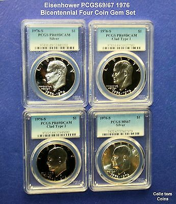 "1976 2 Coin /""S/"" Eisenhower Clad Type 1 /& 2 Proof Set PCGS69 @ /< Wholesale"