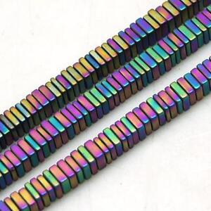 100 Premium Qualité Dépoli Rainbow Flat Square Hematite Beads 3mm-afficher Le Titre D'origine Demande DéPassant L'Offre