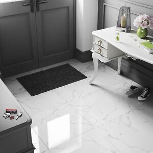White Marble High Gloss Porcelain Tiles 60x60 9mm Wall Floor Kitchen Bathroom Ebay