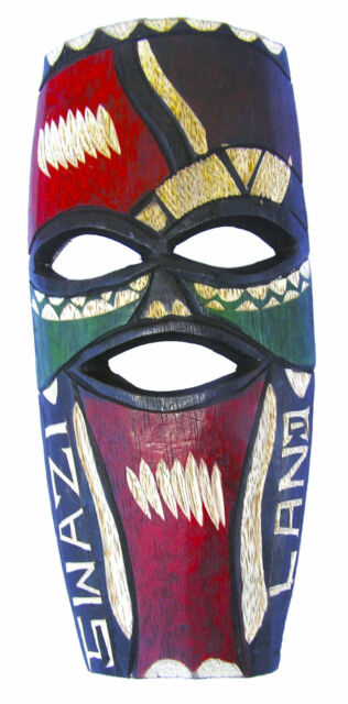 Colorful Swaziland Hand Carved African Mask in Jacaranda Wood