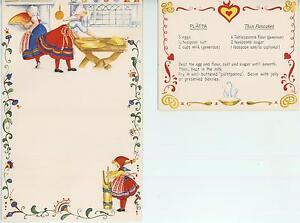 CHRISTMAS VILLAGE SNOW FOLK ART 1 VINTAGE COOK  BUTTER CHURN PANCAKE RECIPE CARD