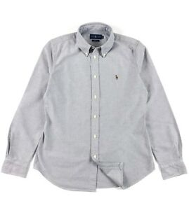 Ralph-Lauren-Harper-Femmes-Oxford-Shirt-gris-solide-Custom-Fit-manches-longues
