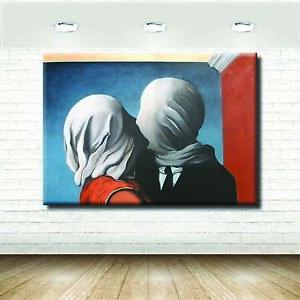 Quadri Famosi Moderni Amanti Magritte Rosso Stampa Tela Arte Arredo ...