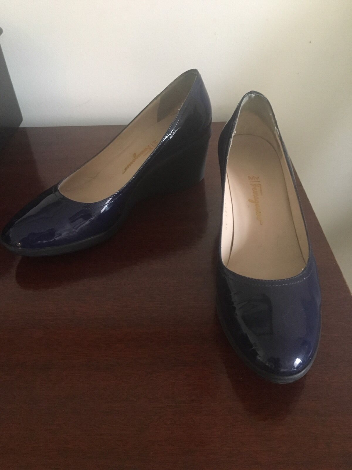 Salvatore Ferragamo NAVY BLUE Logo PATENT LEATHER Wedge Platform ITALY Shoes 10B