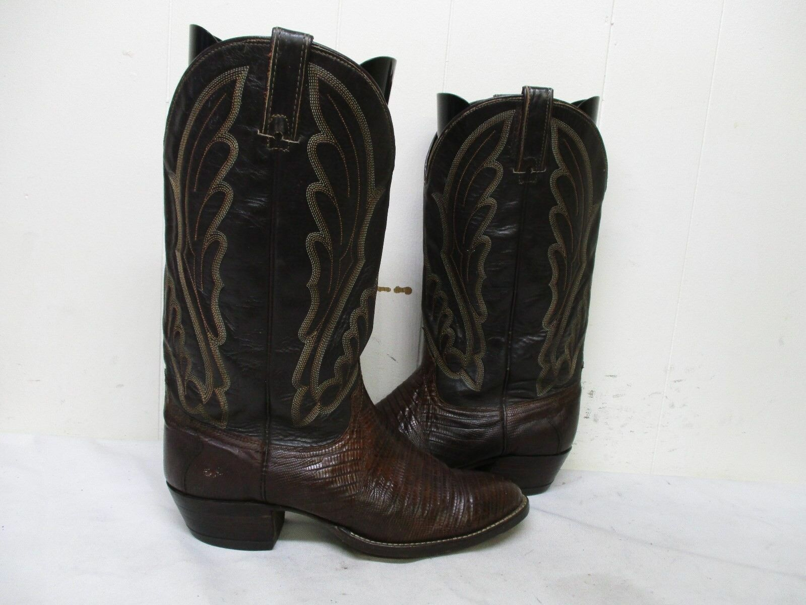 WRANGLER Brown Lizard Leather Cowboy Boots Mens Size 9 D Style 42781