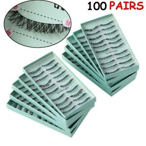 10-100-Pairs-Gorgeous-False-Eyelashes-Long-Cross-Soft-Messy-Handmade
