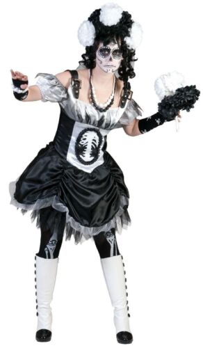 Kostüm Horror Braut schwarz mit weißem Schleier Halloween Kostüm Fasching