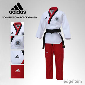 Adidas Poomsae WTF Poom uniforme Taekwondo Dobok TKD macho (hembra)