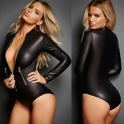 Sexy Women's Faux Leather PVC Wet Look Bodysuit Catsuit Long Sleeve Leotard Tops