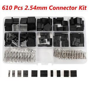 610x-Pinheader-Buchsenstecker-Sortiment-2-54mm-Dupont-Raster-mit-Crimpkontakte